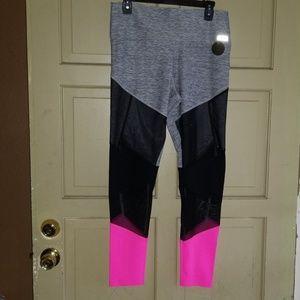 Victoria's Secret Black Pink Gray Mesh Leggings L